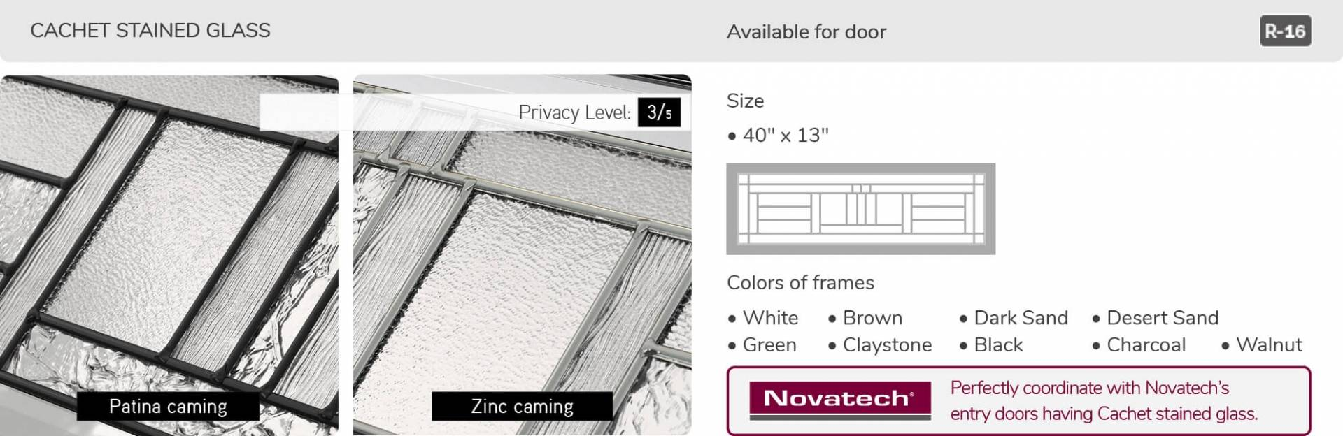 Cachet Stained glass, 40' x 13', available for door R-16