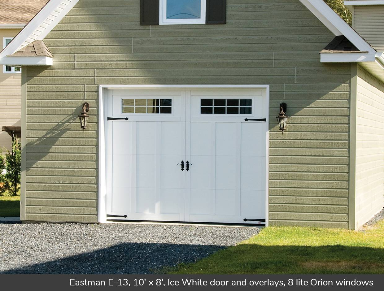 Eastman E-13, 10' x 8', Ice White door and overlays, 8 lite Orion windows